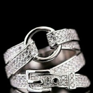 Silver Diamond Buckle Ring